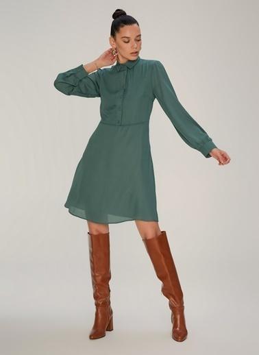 NGSTYLE Yarım Patlı Mini Elbise Yeşil